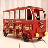 Dough.Q Hölzerner Adventskalender, Weihnachtsbus-Countdown-Adventskalender mit herausnehmbaren 24 Schubladen, nachfüllbarem Dekor, 38 x 24 x 15 cm