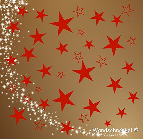 Wandschnörkel® 80 Sterne ROT Fenster Weihnachten...