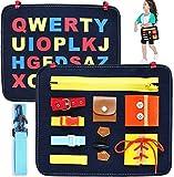 HUADADA Montessori Spielzeug ,Beschäftigtes Board für Kleinkinder,Basic Motor Skills Activity Board Frühpädagogisches und sensorisches Spielzeug für 1 2 3 4-jährige Kleinkinder mit Reißverschlüssen