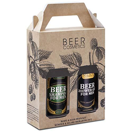 Geschenk Set für Männer 2x400ml - Bier Shampoo &...