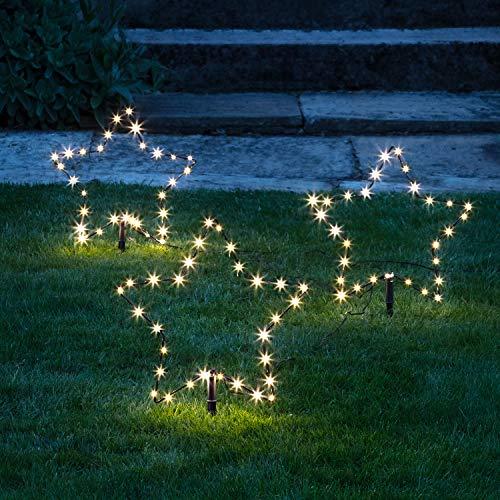 Lights4fun 3er Set Micro LED Sterne warmweiß 4,5V...