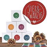 """24 Adventskalender Pappschachteln mit 24 weihnachtlichen Zahlenaufklebern """"Schick und Bunt"""" für den Adventskalender zum Basteln und Befüllen"""