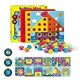 Fansteck Mosaik Steckspiel für Kinder für 1, 2, 3 Jahre, Steckmosaik mit 46 Steckperlen und 12 Bunten Steckplätte, Mosaiksteine, Pädagogische Baustein Sets, Lernspielzeug Geschenke für Junge Mädchen