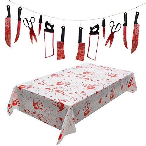 Wishstar Blutige Tischdecke Halloween Deko Horror...