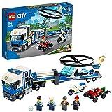 LEGO 60244 City Polizeihubschrauber-Transport, Bauset mit Quad, Motorrad und Lastwagen mit Anhänger