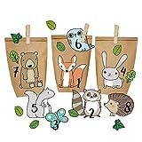 Papierdrachen DIY Adventskalender Kraftpapier Set - Waldtiere zum Aufkleben - mit 24 braunen Papiertüten zum selbst Befüllen und zum Selbermachen - Weihnachten 2019