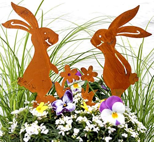 2er Set Gartenstecker Hasenpaar Osterhase Rost...