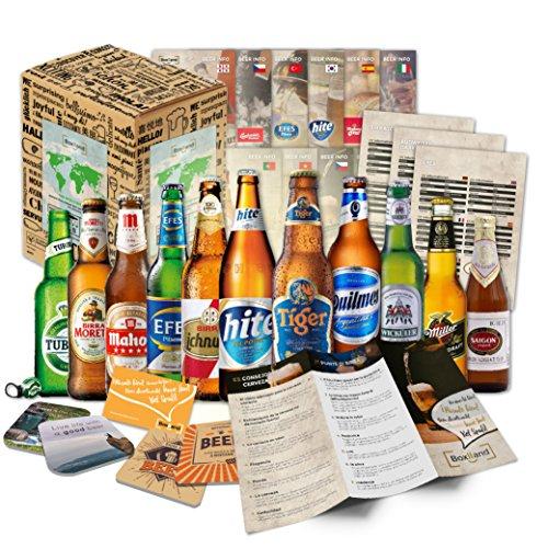 12 Biere der Welt mit Geschenk Karton Bier Info...