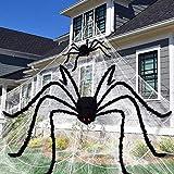 Unomor Große Halloween-Dekorationen mit 16.4ft Spinnennetz, 6.5ft Riesen spinne, 2ft spinne, 10-teiliger Mini-Spinne und 60 g Stretch-Spinnennetz