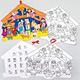 Baker Ross AX580 Weihnachtskrippe Adventskalender Bastelset für Kinder - 4 Stück, Festliche Kreativsets und Bastelbedarf zum Basteln und Dekorieren zur Weihnachtszeit