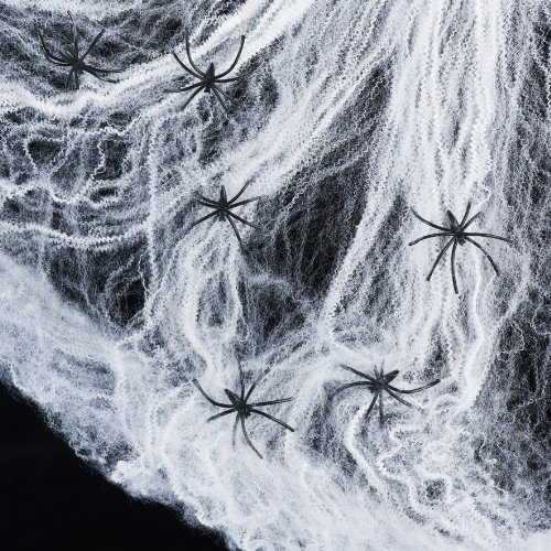 Lights4fun Spinnennetz inkl. 6 Spinnen Halloween...