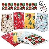 DIY Adventskalender, 24 Kraftpapiertüten Braunen Papiertüten, Weihnachten Papiertüten DIY Weihnachtskalender, Weihnachts Geschenktüte zum Basteln und Befüllen 14x22cm Weihnachtlichen Aufklebern