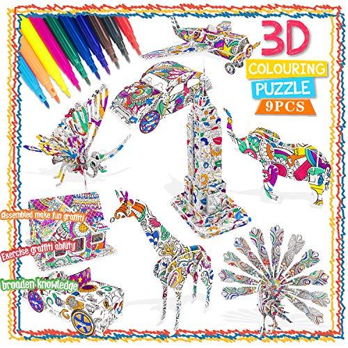 3D Puzzle zum Ausmalen für Kinder 3D Puzzle...