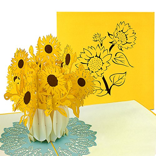 PaperCrush® Pop-Up Karte Sonnenblumen - 3D...